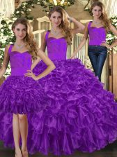Excellent Purple Three Pieces Ruffles 15 Quinceanera Dress Lace Up Organza Sleeveless Floor Length
