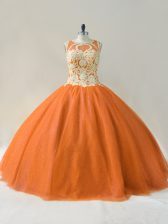 Delicate Tulle Scoop Sleeveless Lace Up Beading and Appliques Sweet 16 Dresses in Orange