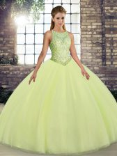 Sumptuous Tulle Scoop Sleeveless Lace Up Embroidery Quinceanera Dress in Yellow Green
