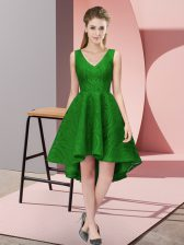 Flare Lace V-neck Sleeveless Zipper Lace Dama Dress for Quinceanera in Green