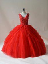 Red Ball Gowns Tulle V-neck Sleeveless Beading Floor Length Zipper 15 Quinceanera Dress