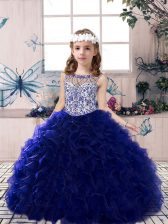 Floor Length Royal Blue Little Girl Pageant Dress Scoop Sleeveless Lace Up