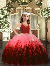 Sleeveless Beading and Ruffles Zipper High School Pageant Dress