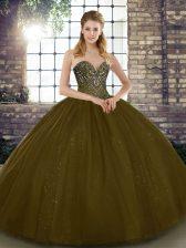 Amazing Brown Tulle Lace Up Sweet 16 Dress Sleeveless Floor Length Beading