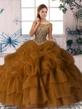 Customized Sleeveless Organza Brush Train Zipper Quinceanera Dresses in Brown with Beading and Pick Ups