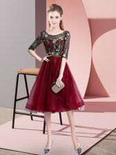 Burgundy Empire Tulle Scoop Half Sleeves Embroidery Knee Length Lace Up Quinceanera Court Dresses