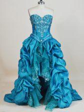 Smart High Low Teal Prom Dresses Taffeta Sleeveless Beading and Pick Ups