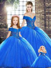 Off The Shoulder Sleeveless Sweet 16 Dress Brush Train Beading Royal Blue Organza