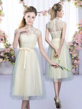 Tea Length Zipper Damas Dress Champagne for Wedding Party with Lace and Bowknot