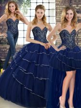 Extravagant Lace Up 15th Birthday Dress Navy Blue for Military Ball and Sweet 16 and Quinceanera with Beading and Ruffled Layers Brush Train