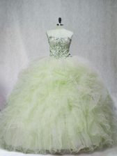 Fancy Yellow Green Sleeveless Tulle Brush Train Lace Up Vestidos de Quinceanera for Sweet 16 and Quinceanera