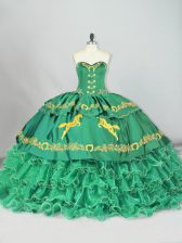 Green Ball Gowns Sweetheart Sleeveless Embroidery and Ruffled Layers Lace Up Quinceanera Dresses Brush Train