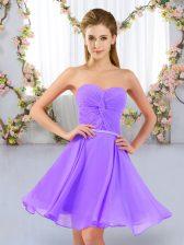 Gorgeous Sweetheart Sleeveless Lace Up Dama Dress Lavender Chiffon