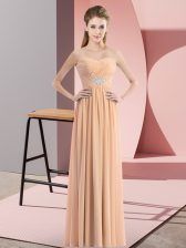 Peach Chiffon Zipper Homecoming Dress Sleeveless Floor Length Beading