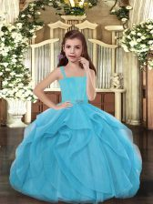 Blue Little Girls Pageant Dress Wholesale Party and Sweet 16 and Wedding Party with Ruffles Straps Sleeveless Lace Up