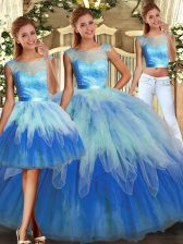 Admirable Sleeveless Floor Length Lace and Ruffles Lace Up Quinceanera Dress with Multi-color