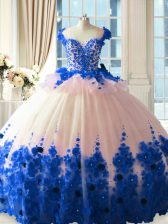 Blue And White Zipper Scoop Hand Made Flower Quinceanera Gown Tulle Sleeveless Brush Train