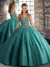 Elegant Beading and Appliques 15 Quinceanera Dress Teal Lace Up Sleeveless Floor Length