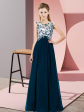 Affordable Navy Blue Empire Beading and Appliques Damas Dress Zipper Chiffon Sleeveless Floor Length