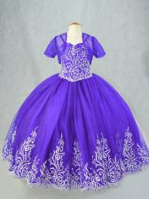 Ball Gowns Little Girl Pageant Dress Purple Spaghetti Straps Tulle Sleeveless Floor Length Lace Up