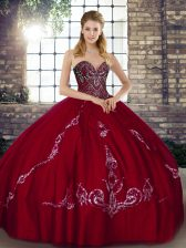 Super Wine Red Lace Up Quinceanera Dress Beading and Embroidery Sleeveless Floor Length