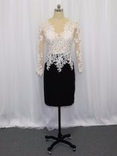 Top Selling White And Black Column/Sheath Lace Dress for Prom Zipper Satin Long Sleeves Mini Length