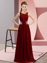 Scoop Sleeveless Zipper Quinceanera Court of Honor Dress Burgundy Chiffon