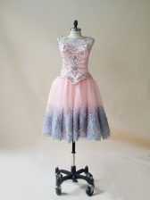 Baby Pink Sleeveless Beading and Appliques Mini Length Homecoming Dress