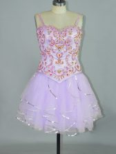Fancy Spaghetti Straps Sleeveless Lace Up Prom Evening Gown Lavender Tulle