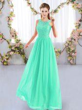 Beautiful Scoop Sleeveless Dama Dress for Quinceanera Floor Length Lace Apple Green Chiffon