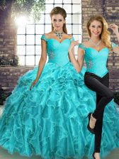 Trendy Organza Off The Shoulder Sleeveless Brush Train Lace Up Beading and Ruffles Quince Ball Gowns in Aqua Blue
