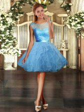 Scoop Sleeveless Backless Dress for Prom Light Blue Tulle