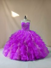 Sleeveless Lace Up Beading and Ruffles Vestidos de Quinceanera