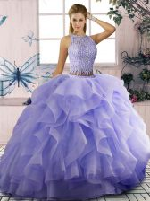Cheap Tulle Scoop Sleeveless Zipper Beading and Ruffles Sweet 16 Quinceanera Dress in Lavender