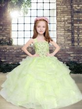 Perfect Yellow Green Straps Neckline Beading Little Girls Pageant Dress Wholesale Sleeveless Lace Up