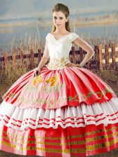 White And Red Sleeveless Embroidery and Ruffled Layers Floor Length Sweet 16 Dresses