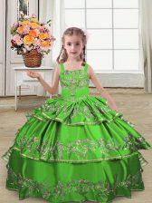 Best Sleeveless Lace Up Floor Length Embroidery and Ruffled Layers Pageant Gowns For Girls