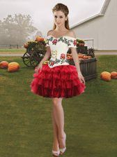 Suitable Wine Red Off The Shoulder Neckline Embroidery and Ruffled Layers Dress for Prom Sleeveless Lace Up