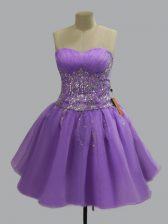 Lavender Sweetheart Lace Up Beading Prom Gown Sleeveless