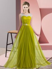 Chiffon Scoop Sleeveless Lace Up Beading Vestidos de Damas in Olive Green