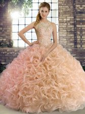 New Arrival Peach Ball Gowns Fabric With Rolling Flowers Scoop Sleeveless Beading Floor Length Lace Up Sweet 16 Dresses