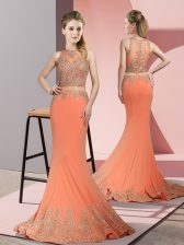 Exceptional Orange Red Mermaid Satin High-neck Sleeveless Beading and Appliques Zipper Prom Dress Sweep Train