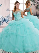 Aqua Blue Quinceanera Gowns Military Ball and Sweet 16 and Quinceanera with Beading and Ruffles Off The Shoulder Sleeveless Lace Up