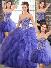 Sleeveless Tulle Floor Length Lace Up 15th Birthday Dress in Lavender with Beading and Ruffles