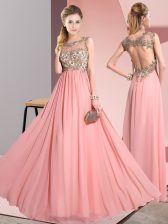 Excellent Floor Length Backless Quinceanera Court of Honor Dress Pink for Wedding Party with Beading and Appliques