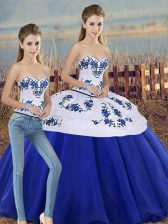 Flirting Sleeveless Floor Length Embroidery and Bowknot Lace Up Vestidos de Quinceanera with Royal Blue