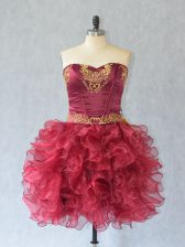 Wine Red Prom Party Dress Prom and Party with Embroidery and Ruffles Sweetheart Sleeveless Lace Up