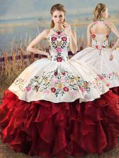 Latest White And Red Halter Top Lace Up Embroidery and Ruffles Quinceanera Dress Sleeveless
