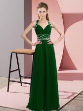 Sleeveless Chiffon Floor Length Backless Evening Dress in Dark Green with Beading