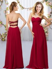 Wine Red Sleeveless Chiffon Criss Cross Quinceanera Court Dresses for Wedding Party